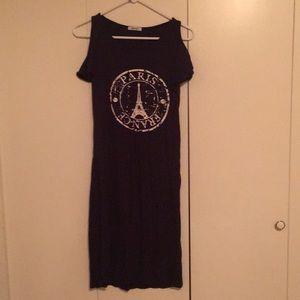 Paris navy blue cold shoulder midi dress